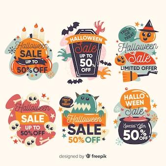 Collection d'étiquettes halloween avec bons d'achat