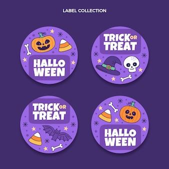 Collection d'étiquettes halloween dessinées à la main