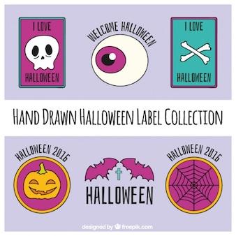 Collection d'étiquettes de halloween dessinés à la main