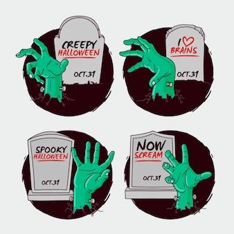 Collection d'étiquettes d'halloween dessinés à la main