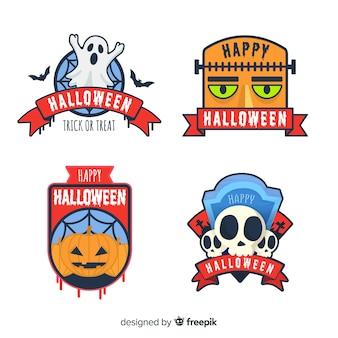 Collection d'étiquettes d'halloween originale avec un design plat