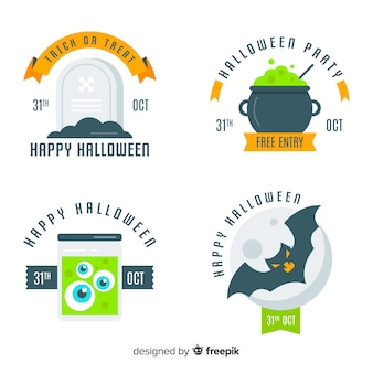 Collection d'étiquettes d'halloween originale avec un design plat