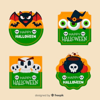 Collection d'étiquettes d'halloween plat sur les tons verts et jaunes