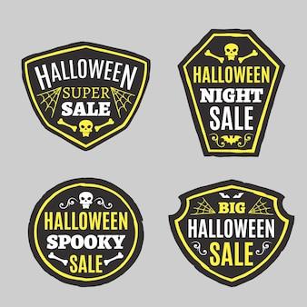 Collection d'étiquettes d'halloween plat