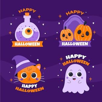 Collection d'étiquettes halloween plates dessinées à la main
