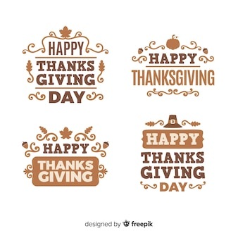 Collection d'étiquettes happy thanksgiving day