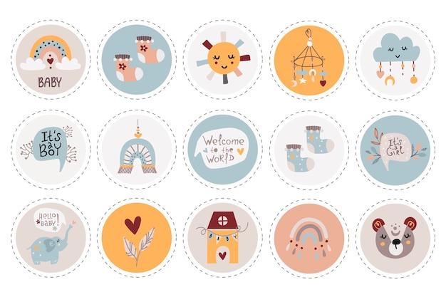 Collection d'étiquettes avec illustration d'articles pour bébé