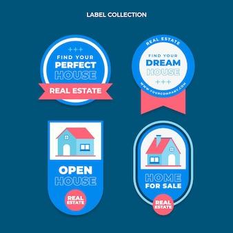 Collection d'étiquettes immobilières géométriques abstraites plates