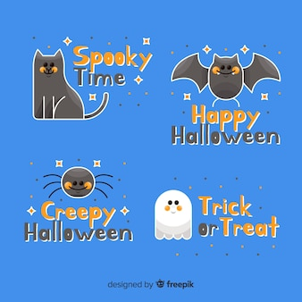 Collection d'étiquettes et d'insignes d'animaux effrayants et fantômes
