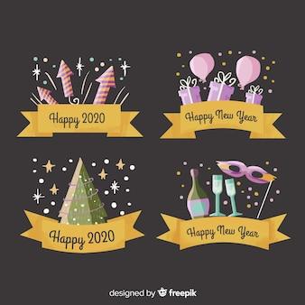 Collection d'étiquettes et d'insignes aquarelle nouvel an 2020 avec ruban doré