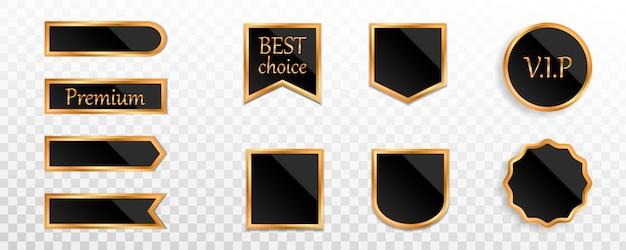 Collection d'étiquettes, d'insignes ou d'étiquettes en or noir de qualité supérieure