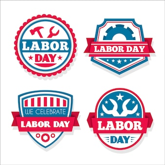Collection d'étiquettes / insignes de la fête du travail (usa) au design plat