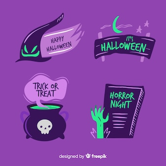 Collection d'étiquettes et d'insignes halloween dessinés à la main