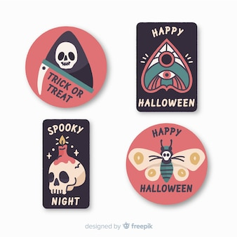 Collection d'étiquettes et d'insignes d'halloween dessinés à la main