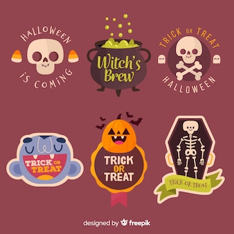 Collection d'étiquettes et d'insignes d'halloween dessinés à la main