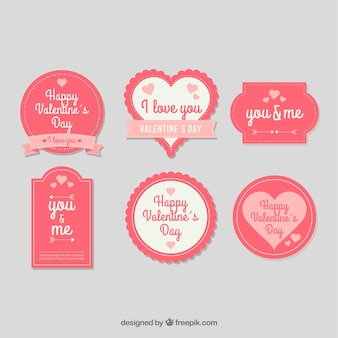 Collection d'étiquettes / insignes vintage valentine