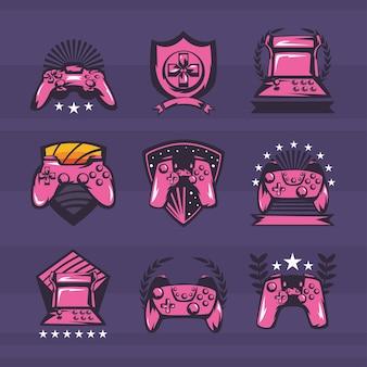 Collection d'étiquettes de jeux vidéo style rétro