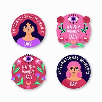Collection d'étiquettes de jour des femmes dessinées à la main