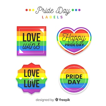 Collection d'étiquettes de jour de fierté coloré