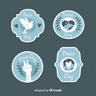 Collection d'étiquettes de jour de la paix bleu élégant
