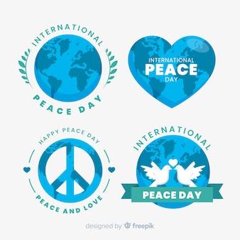 Collection d'étiquettes de jour de paix plat sur fond blanc