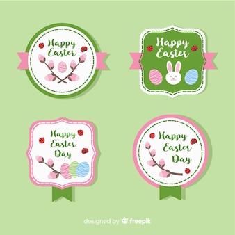 Collection d'étiquettes de jour de pâques plat