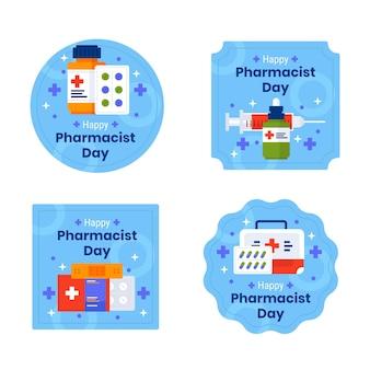 Collection d'étiquettes de jour de pharmacien plat