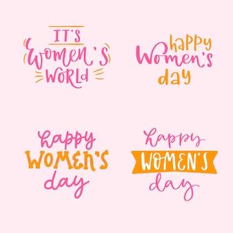 Collection d'étiquettes de la journée de la femme lettrage