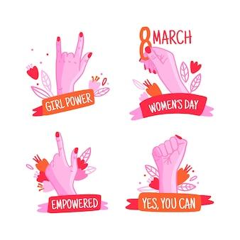 Collection d'étiquettes de la journée des femmes dessinées à la main