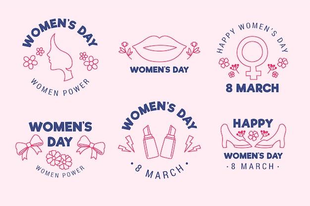 Collection d'étiquettes de la journée internationale des femmes dessinées à la main