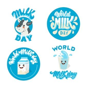 Collection d'étiquettes de la journée mondiale du lait dessinés à la main