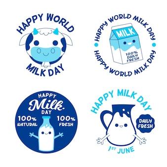 Collection d'étiquettes de la journée mondiale du lait plat