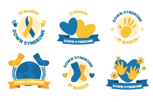 Collection d'étiquettes de la journée mondiale du syndrome de down dessinés à la main