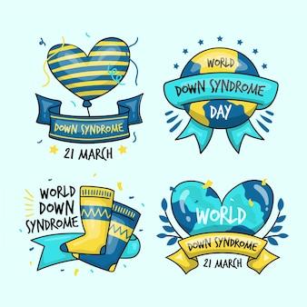 Collection d'étiquettes de la journée mondiale du syndrome de down