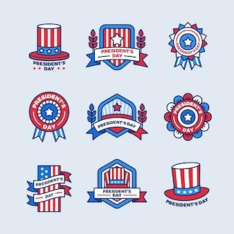 Collection d'étiquettes de la journée des présidents