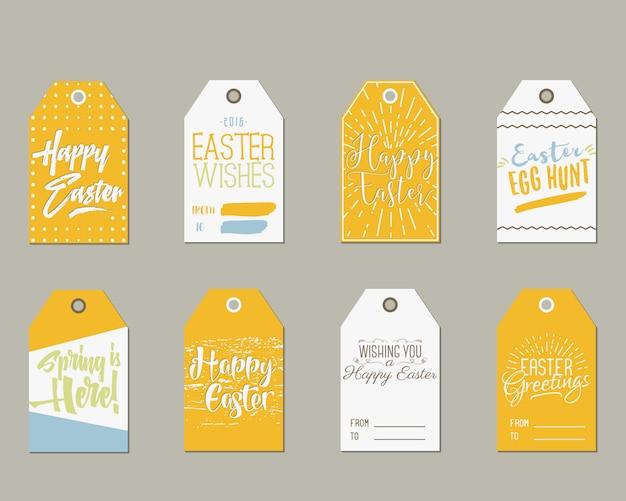 Collection d'étiquettes de joyeuses pâques.