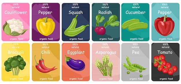 Collection d'étiquettes de légumes