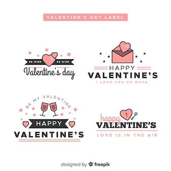 Collection d'étiquettes linéaires valentine