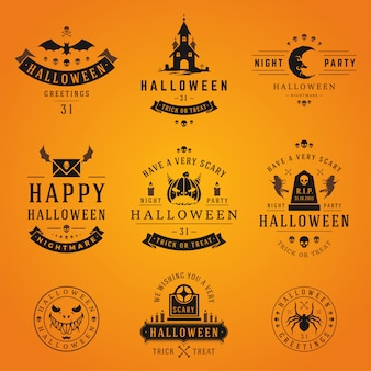 Collection d'étiquettes et de logos halloween
