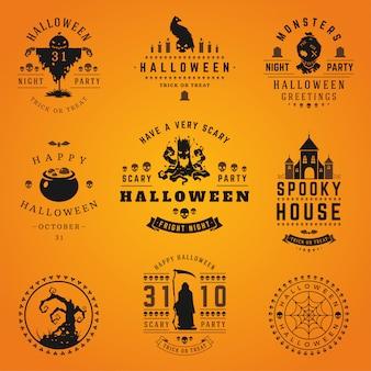Collection d'étiquettes et de logos halloween