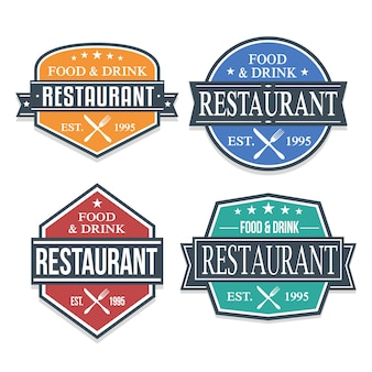 Collection d'étiquettes de logos de restaurants