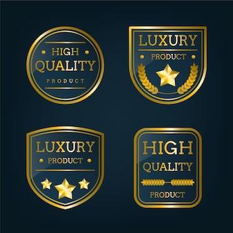 Collection d'étiquettes de luxe dorées dégradées