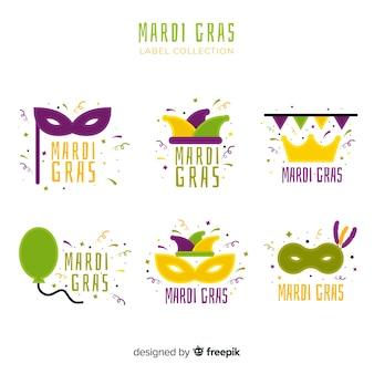 Collection d'étiquettes de mardi gras