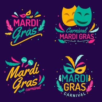 Collection d'étiquettes mardi gras