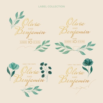 Collection d'étiquettes de mariage aquarelle dessinés à la main