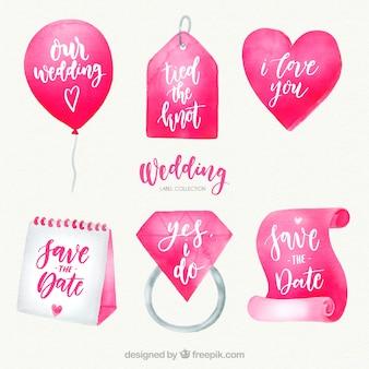 Collection d'étiquettes de mariage aquarelle rose