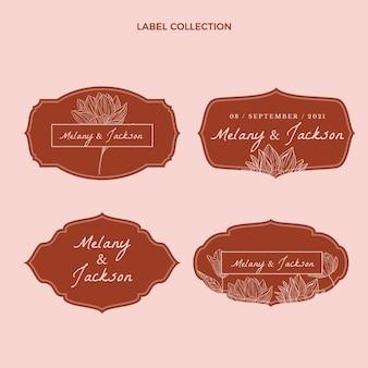 Collection d'étiquettes de mariage dessinées à la main