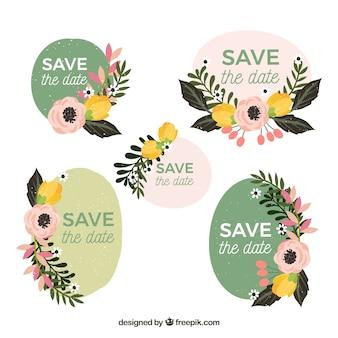 Collection d'étiquettes de mariage avec des fleurs