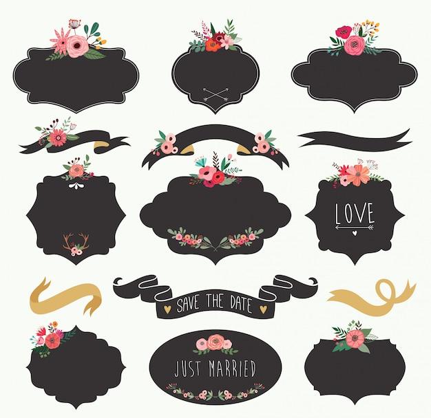 Collection d'étiquettes de mariage noir avec des fleurs et des rubans.