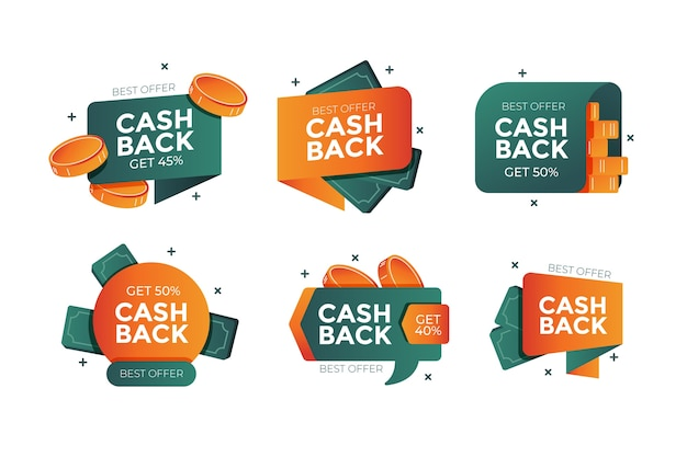 Collection d'étiquettes marketing cashback